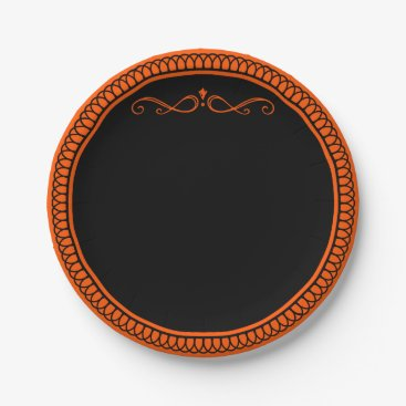 Halloween Themed Orange and black paper plates