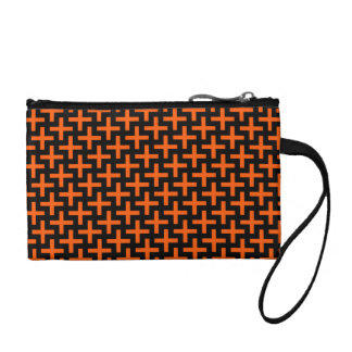 Orange and Black Pattern Crosses Plus Signs Change Purse