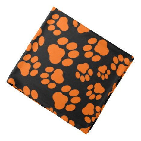 Orange-and-Black Paw Print Bandana