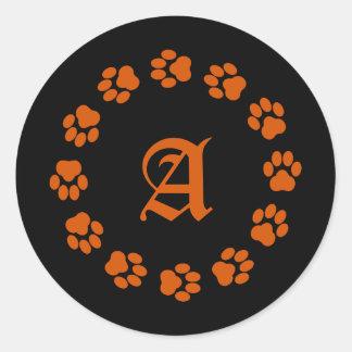 Orange-and-Black Paw Print Monogram Sticker