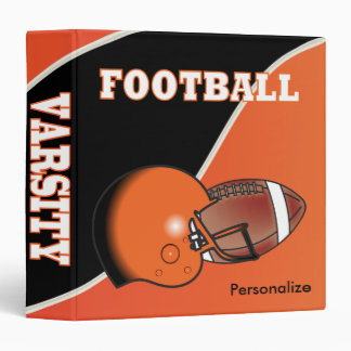 Orange and Black Personalize Football Binder