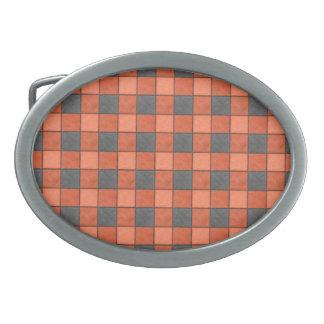 Orange and Black Plaid Check Belt Buckle