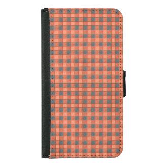 Orange and Black Plaid Check S5 Wallet Case
