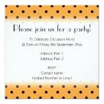 Orange and Black Polka Dot Pattern. 5.25x5.25 Square Paper Invitation Card