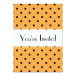 Orange and Black Polka Dot Pattern. 5x7 Paper Invitation Card