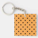 Orange and Black Polka Dot Pattern. Single-Sided Square Acrylic Keychain