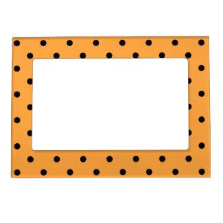 Orange and Black Polka Dot Pattern. Magnetic Frame