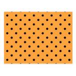 Orange and Black Polka Dot Pattern. Postcard
