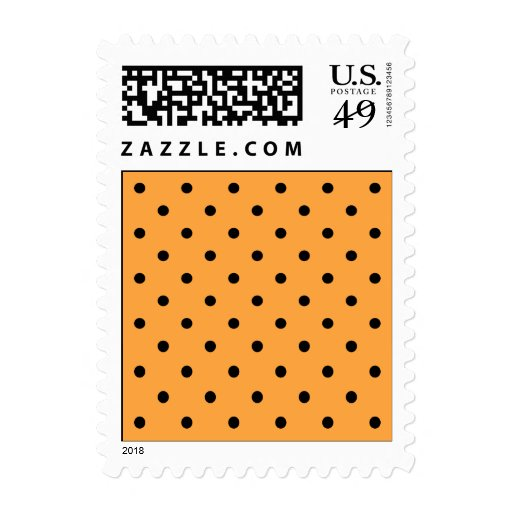 Orange and Black Polka Dot Pattern. Stamp