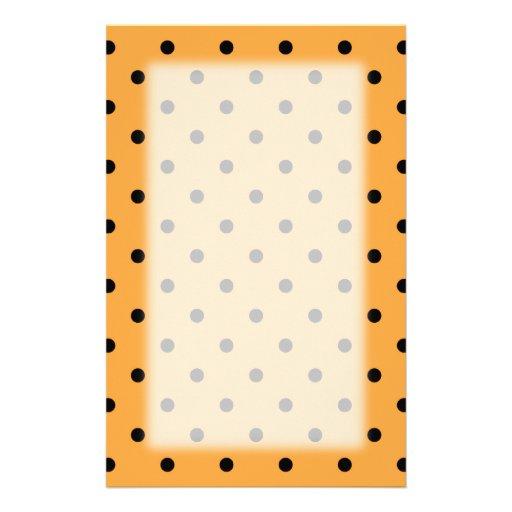 Orange and Black Polka Dot Pattern. Stationery