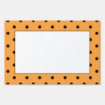Orange and Black Polka Dot Pattern. Yard Sign