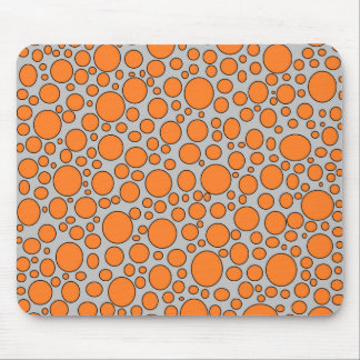 Orange and Black Polka Dots Grey Mousepad