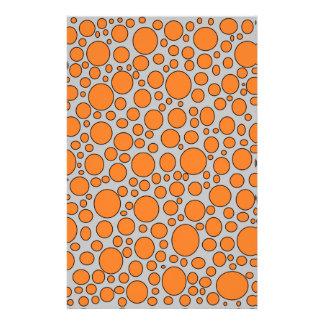 Orange and Black Polka Dots Grey Stationery
