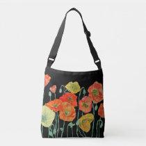 Orange and Black Poppies Watercolor Bag