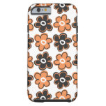 Orange And Black Retro Flowers Pattern Tough iPhone 6 Case