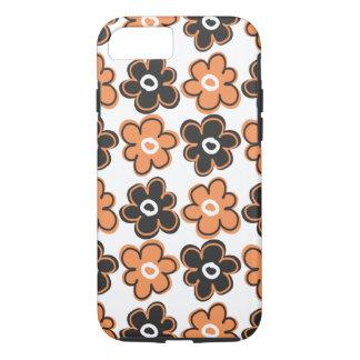 Orange And Black Retro Flowers Pattern iPhone 7 Case