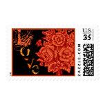 Orange and Black Rose Halloween Bouquet Stamp