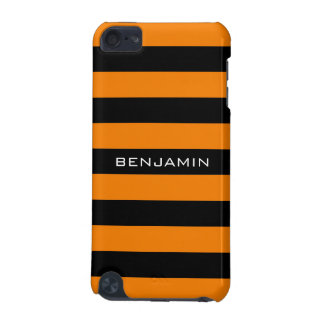Orange and Black Rugby Stripes with Custom Name iPod Touch (5th Generation) Case