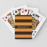 """Orange and Black Rugby Stripes with Custom Name Playing Cards<br><div class=""""desc"""">Happy Halloween Color Pattern -- A manly pattern for the guys and boys in your family. A bold and modern design with an area for customized text. If you need to adjust the artwork or change the font, you can click on the customize area. This will take you to the...</div>"""