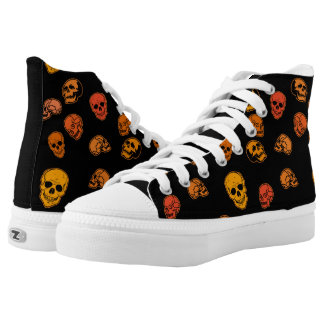 Orange and Black Skulls Hi Tops Shoes