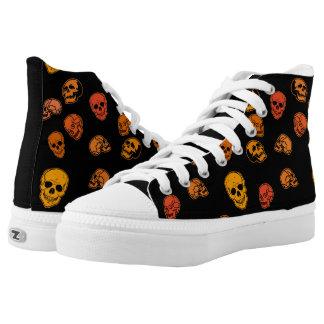 Orange and Black Skulls Hi Tops Shoes Printed Shoes