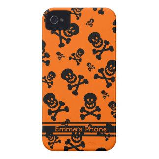 Orange and Black Skulls iPhone 4/4S Case