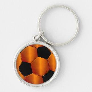 Orange and Black Soccer Ball Keychain