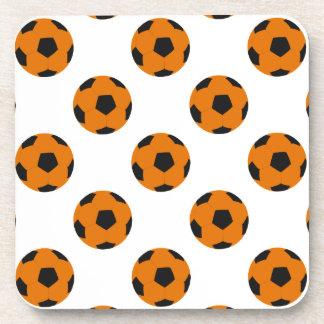 Orange and Black Soccer Ball Pattern Beverage Coaster