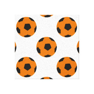 Orange and Black Soccer Ball Pattern Canvas Print