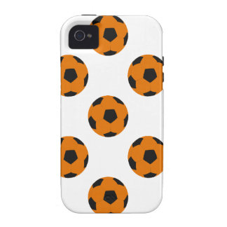Orange and Black Soccer Ball Pattern iPhone 4 Cases