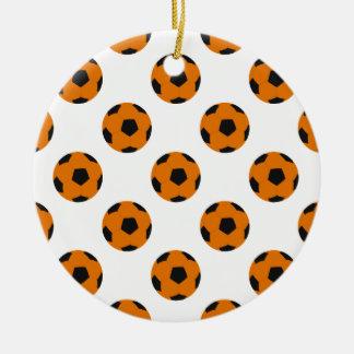 Orange and Black Soccer Ball Pattern Ceramic Ornament