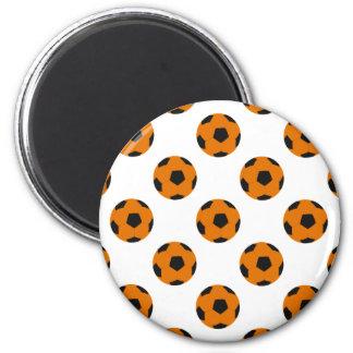 Orange and Black Soccer Ball Pattern Magnets
