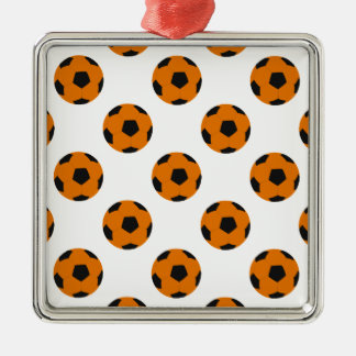 Orange and Black Soccer Ball Pattern Metal Ornament