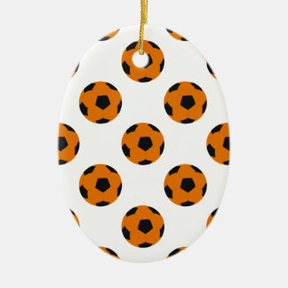 Orange and Black Soccer Ball Pattern Christmas Tree Ornament