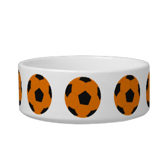Orange and Black Soccer Ball Pattern Pet Bowl