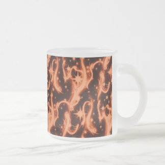 Orange and Black Sparkle Ghost Pattern 10 Oz Frosted Glass Coffee Mug