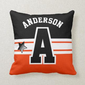 Orange and Black Sport Letter Pillow