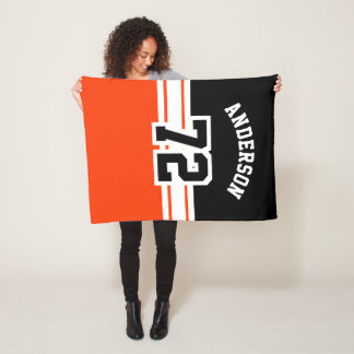 Orange and Black Sport Number Fleece Blanket
