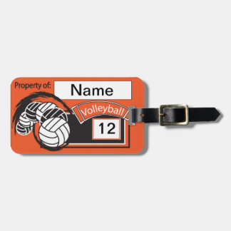 Orange and Black Sporty Volleyball Bag Tags