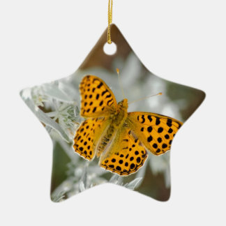 Orange and Black Spotted Butterfly Ceramic Ornament