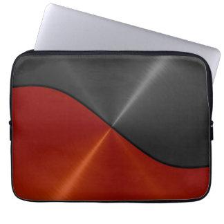 Orange and Black Stainless Steel Metal 3 Computer Sleeve