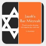 Orange and Black Star of David Bar Mitzvah Favor Square Sticker