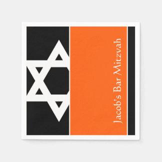 Orange and Black Star of David Bar Mitzvah Napkin