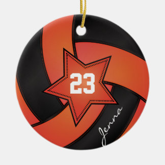 Orange and Black Star Volleyball Ceramic Ornament