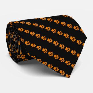 Orange-and-Black Striped, Paw Print Necktie