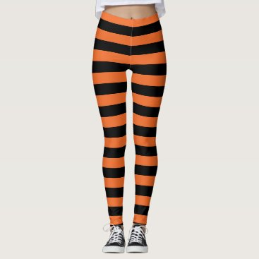 Halloween Themed Orange And Black Striped Witch Halloween Leggings