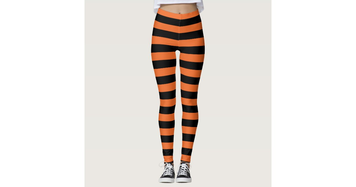 Orange And Black Striped Witch Halloween Leggings | Zazzle.com