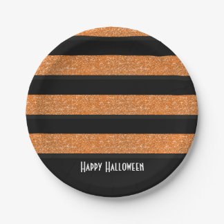 Orange and black stripes Halloween Plate 7 Inch Paper Plate