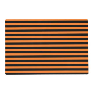 Orange and Black Stripes Laminated Placemat