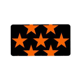 Orange and Black Super Stars Pattern Address Label